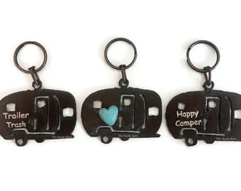 Airstream Camper Trailer Key Chain Trailer Trash Happy Camper or Trailer  with faux heart Keychain made of Rustic Recycled Metal Wholesale dc8c2c3e42