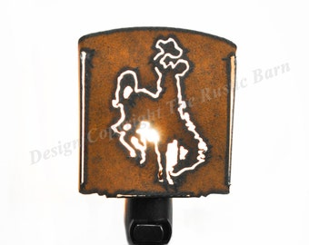 BRONC rider with HAT nightlight night light made of Rustic Rusty Rusted Recycled Metal also wholesale