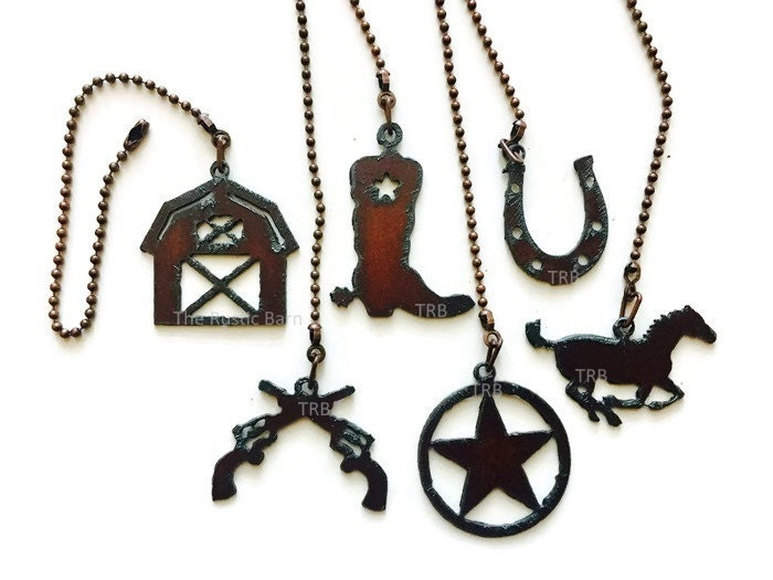 Ceiling Fan Pull Western Barn S Boot Horse Horseshoe Or Tx Star Charm Size Made Of Rusty Rustic Recycled Metal