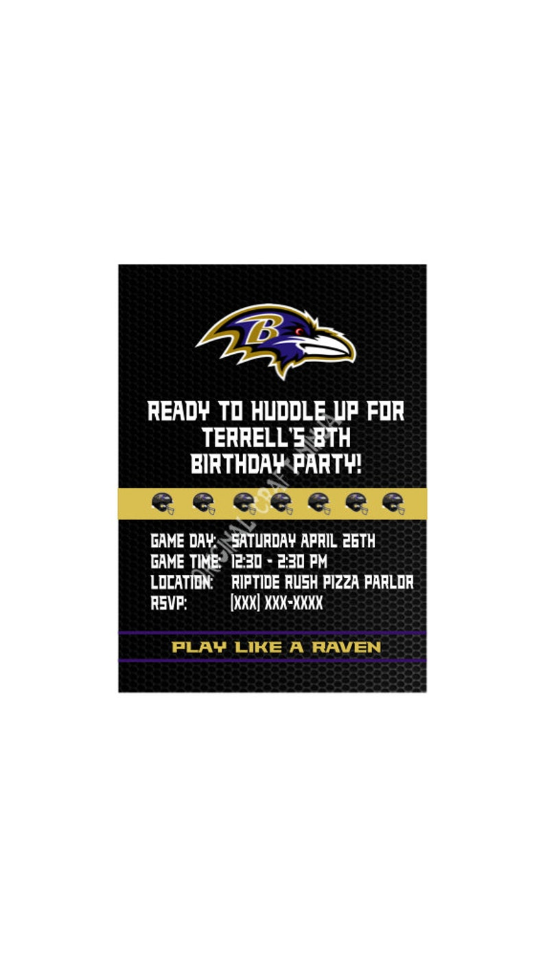 Baltimore Ravens Birthday Party Invitations Printable