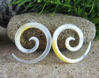 1x Teak Wood Drop Spiral Teardrop Hook Organic for Stretched Ears Gauges Plug Lobe Ebony Tribal