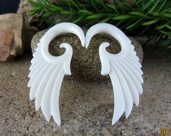 Pair of  2G Real gauge   Hand  Carved  Buffalo Bone Ear gauge,  Angel Wing , Tribal Earring, Organic Gauge L1351