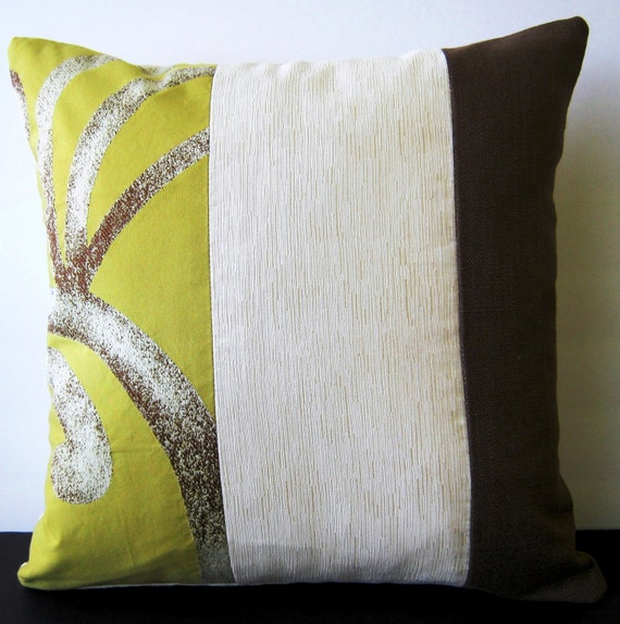 Beautiful Decorative Pillow In Citrine Creme And Brown Etsy