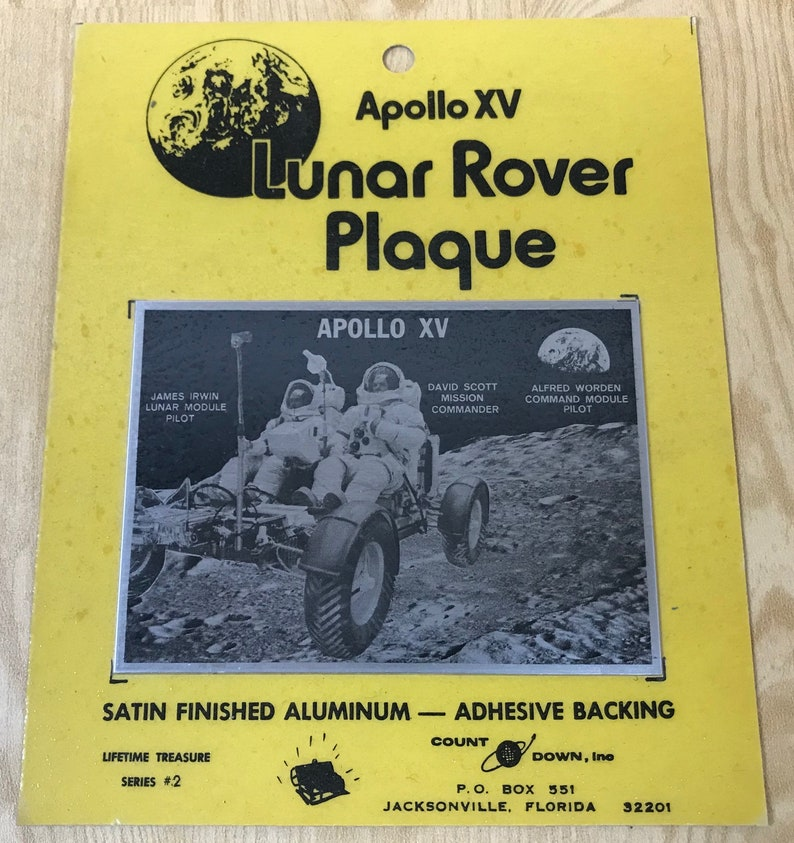 Satin finished aluminum with adhesive backing from Countdown Inc Jacksonville Apollo XV Lunar Rover Plaque Florida -