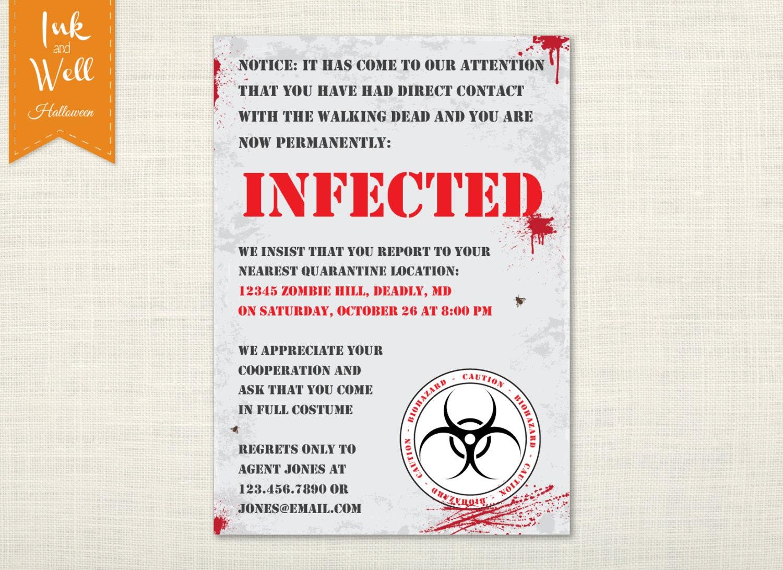 Zombie Halloween Invitation Walking Dead Party Invite | Etsy