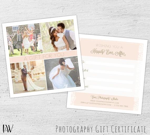 Photography Gift Card Template Wedding Photography Blush Wedding