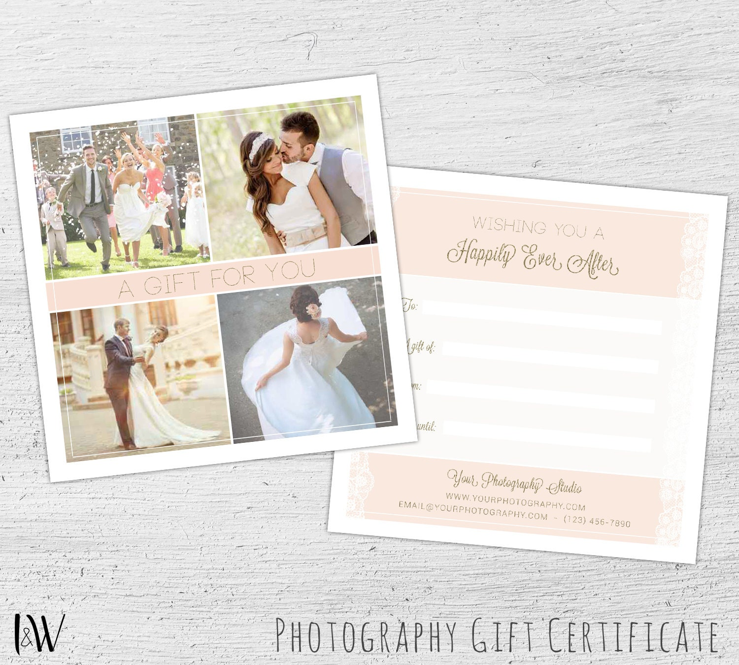 Photography Gift Certificate Wedding Photography Photoshop Etsy