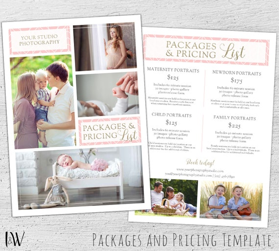 Photography Pricing Template Photoshop Template Marketing Price
