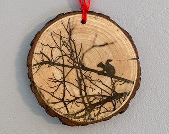 Ornament, Photo Art on Wood, Photo Transfer, Fine Art Photography, Photo Printed On Wood, Wood Wall Art, Christmas, Squirrel Photography