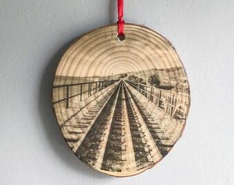 Ornament, Photo Art on Wood, Photo Transfer, Fine Art Photography, Photo Printed On Wood, Wood Wall Art, Railroad Tracks Photography