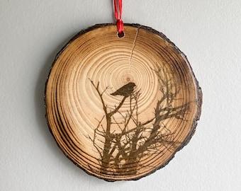 Ornament, Photo Art on Wood, Photo Transfer, Fine Art Photography, Photo Printed On Wood, Wood Wall Art, Crow, Christmas, Bird Photography