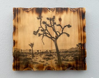 Photo Art on Wood, Photo Transfer, Pine Wood, Joshua Tree, Joshua Tree National Park, Photo Printed On Wood, Wood Wall Art