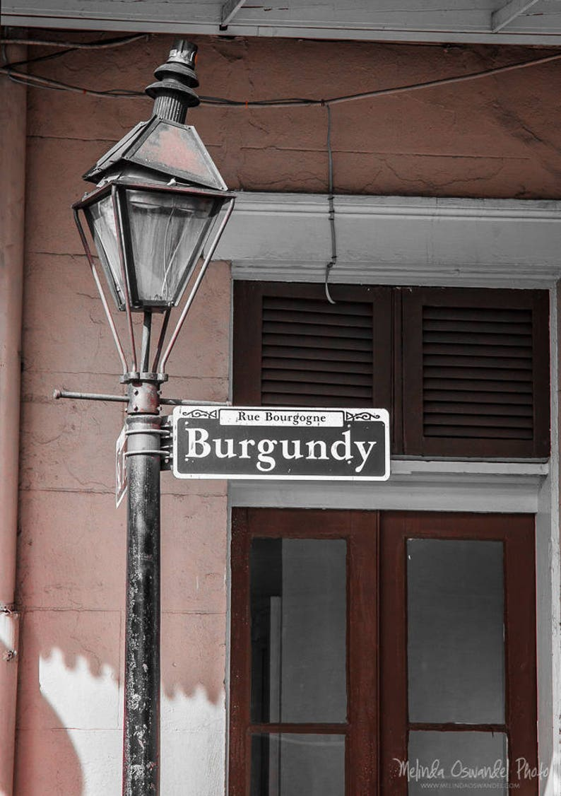 New Orleans Photography Burgundy Street Lamp Post Mardi Gras Fat Tuesday Nola Photo Print