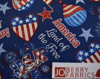 America Home of Brave Word Stripe Patriotic Fabric Studio E YARD