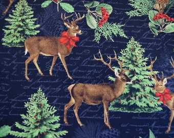 ACORN FOREST TREES NAVY BLUE BY ROBERT KAUFMAN COTTON FABRIC FH-3526 BY YARD