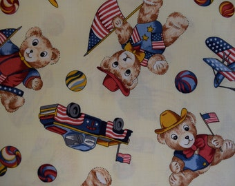 Patriotic Teddy Bears from the Bear With me Collection for RJR Fabrics,   Quilt or Craft Fabric,   Fabric by the Yard.