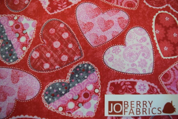 Hearts of Love by Sharla Fults for Studio E Fabrics Half Yard of Pink Hearts on Black and Grey