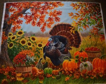 Thanksgiving Turkey Panel Digital Print by Abraham Hunter for Four Seasons and David Textiles.  Quilt or Craft Fabrics,  Fabric by the Panel