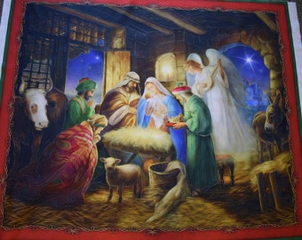 Nativity Panel by Menga of Art House Design for Quilting Treasures.  Quilt or Craft Fabric, Fabric by the Panel.
