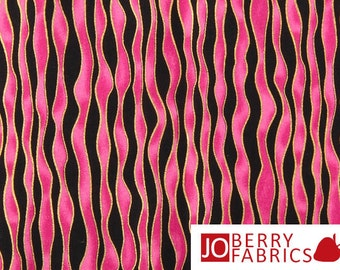 Pink and Black Striped Fabric, Hugs and Kisses by Studio 8 for Quilting Treasures, Quilt or Craft Fabric, Fabric by the Yard