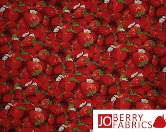 Strawberry Print Fabric, Packed Strawberries by Elizabeth Studio, Quilt or Craft Fabric.