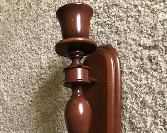 "CHARLES LESTERS 15 1/2"" Dark Brown Turned Wood Wooden Wall Mount Candle Holder Sconce, Home Decor Decorating Accent, Candlestick Sconce"