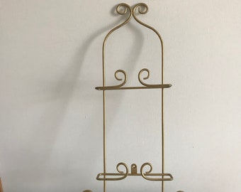 Wrought Iron Style Double Plate Rack Gold Metal Wall Mount Hanging Plate Display Decorative & Hanging plate holder   Etsy