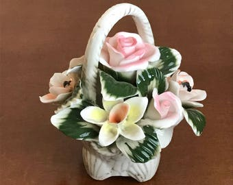 Basket of Flowers w/ Embossed Seashell Pattern, Bone China Porcelain, Handmade Hand Painted Shabby Chic Home Decor Decorating Gift Idea