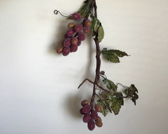 "18"" Faux Artificial Flocked Grapes Vine Branch, 2 Grape Clusters, Wine Vineyard Theme Home Decor Decorating, Floral Greenery Craft Supplies"