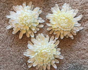 "White Plastic Chrysanthemums Vintage Set of 3 Large 4"" Faux Artificial Flowers Vintage Decorative, Home Decor Decorative Floral Accent"