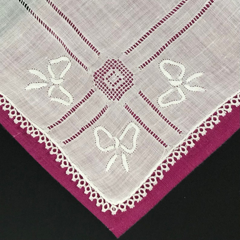 Bow Shape Appliqu\u00e9s /& Removed Thread Accent Lines on Sheer White Cotton w Tatted Lace Edge New Unused Vintage Handkerchief Hankie Hanky