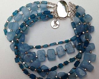 Blue kyanite and aquarmarine tiles multi-strand bracelet