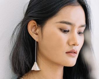Handmade leaf-shape long dangle silver earrings (E0215)