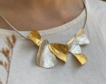 Silver or partial gold coated leaves collar necklace (N0124)