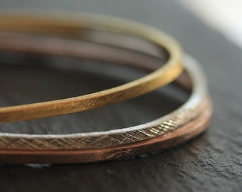 Oval handmade silver bangles with in 95% silver in silver, rose gold and yellow gold finish (B0036mix)