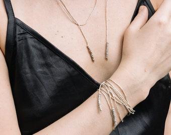 Single strand wraparound necklace/bracelet in handmade silver beads (N0116)