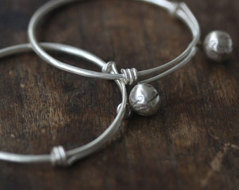 Pair of handmade silver baby anklets with decorated bells (BA) 35 mm diameter (A0001)