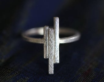 Three vertical bars handmade silver ring with different textures (R0045)