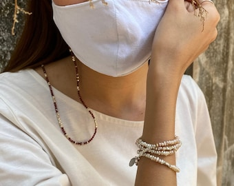 Beaded mask or glasses chain/bracelet/necklace in gemstones and silver beads (MS0001)