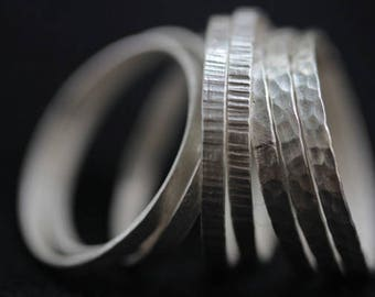 Handmade set of stackable silver rings with different textures (R0021)