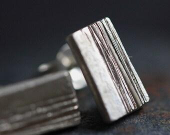 Wood grain handmade silver stud earrings (E0169)