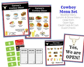 7f78b6d41ee INSTANT Download Dramatic Play Cowboy Diner   Restaurant Printable Download  Files