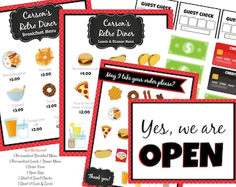 2de7cc50db2 INSTANT Download PERSONALIZED Dramatic Play Restaurant   Diner Printable  Download RED