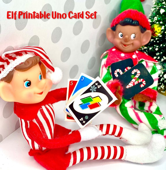 Elf CARD GAMES Uno Christmas Props  Printable  Instant