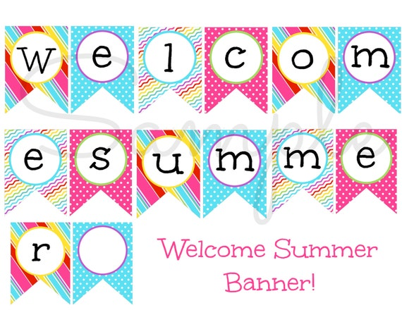 photo about Welcome Banner Printable named Prompt Down load Welcome Summer time Getaway Banner PRINTABLE Obtain - Enjoyable Get together do it yourself
