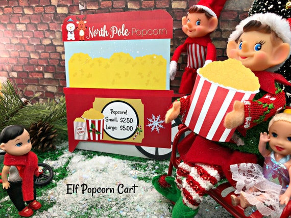 Elf Christmas Props  Popcorn Stand Cart Printable  Instant