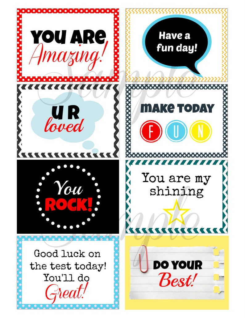 picture about Encouraging Notes for Students During Testing Printable referred to as Fast Down load Assisting College or university LUNCH BOX Notes - (8) Printable lunchbox Shots for young children