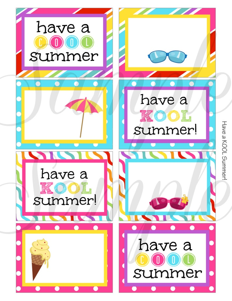 image about Have a Kool Summer Printable identified as Fast Down load Conclude of the yr Include a KOOL Amazing Summer season Card / Observe - Printable
