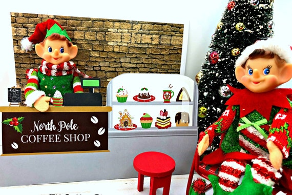 Elf HOT COCOA & SWEETS Counter Stand Printable Shelf Store