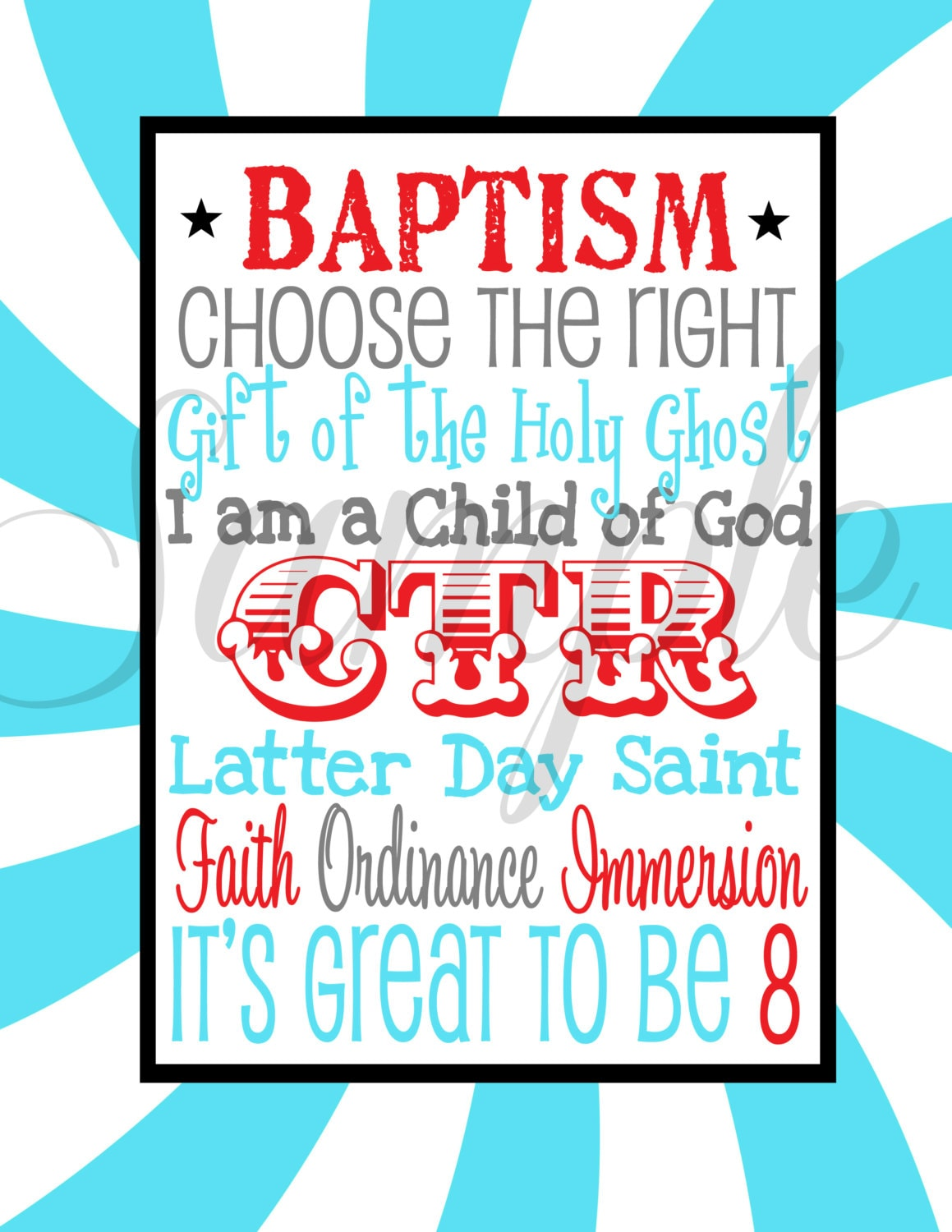 INSTANT DOWNLOAD Its GREAT to be 8 Lds Baptism Subway Art | Etsy